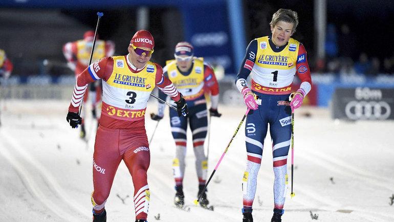 Александр Большунов иЙоханнес Клебо. Фото AFP