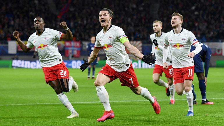 10марта. Лейпциг. «Лейпциг»— «Тоттенхэм»— 3:0. 10-я минута. Немецкая команда празднует первый гол. Фото Reuters