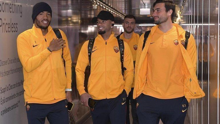 Игроки «Ромы» несмогли вылететь вИспанию наматч с «Севильей». Фото ФК «Рома»