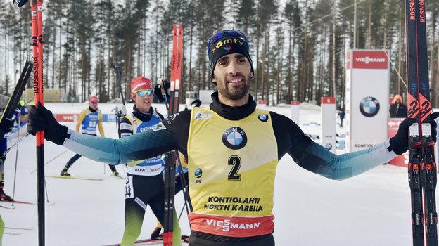 14марта. Контиолахти. Мартен Фуркад празднует победу впоследней гонке вкарьере. Фото Reuters
