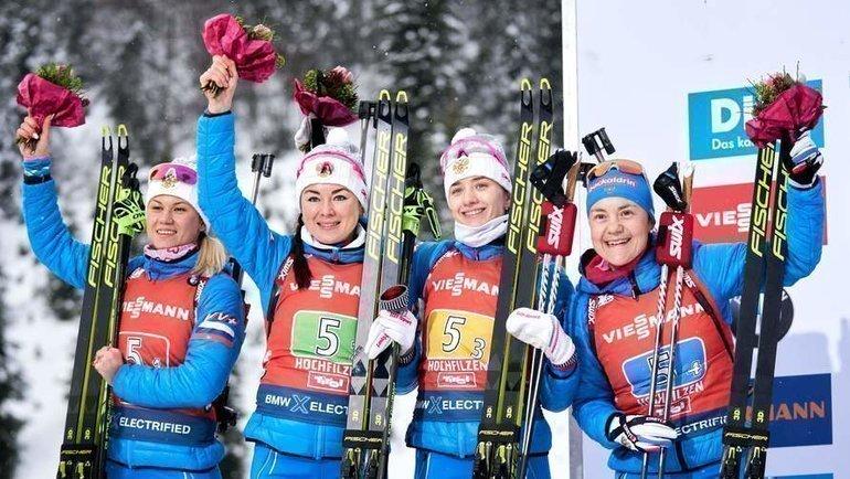 Кристина Резцова, Лариса Куклина, Светлана Миронова иЕкатерина Юрлова-Перхт (слева направо). Фото AFP