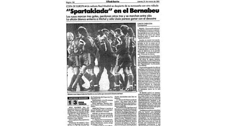 Первая полоса ElMundo Deportivo от21марта 1991 года. Фото изличного архива Дмитрия Радченко
