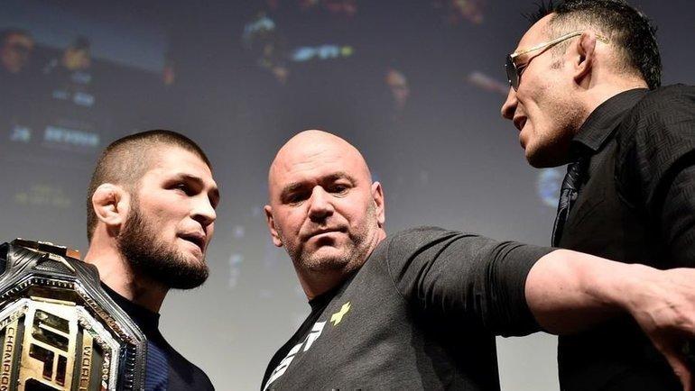 Хабиб Нурмагомедов, глава UFC Дана Уайт иТони Фергюсон. Фото instagram.com