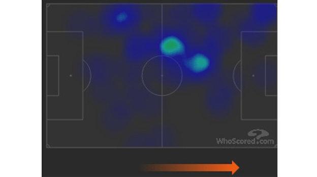 Тепловая карта Неймара в матче с «Боруссией» (2:0). Фото whoscored.com