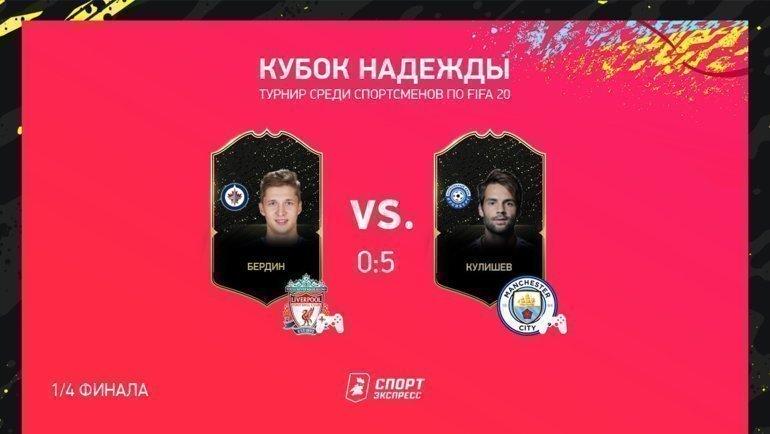 Кулишев обыграл Бердина вчетвертьфинале «Кубка Надежды» поFIFA 20.