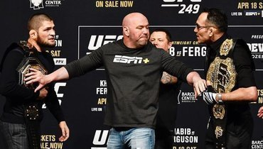 Хабиб Нурмагомедов, глава UFC Дана Уайт иТони Фергюсон.