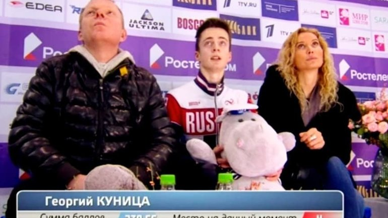 Георгий Куница (вцентре) сСергеем Дудаковым (слева) иЭтери Тутберидзе (справа). Фото Instagram