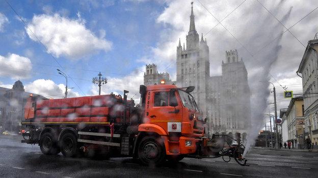 12апреля. Москва. Масштабная дезинфекция улиц центра столицы.