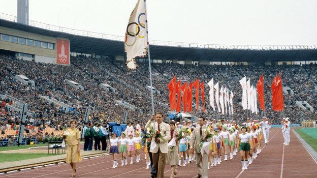 Олимпиада-1980. Парад спортсменов. Фото ТАСС