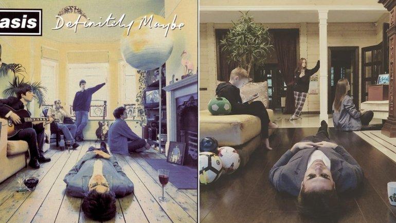 Александр Кержаков ссемьей повторяют обложку альбома группы Oasis— Definitely Maybe.