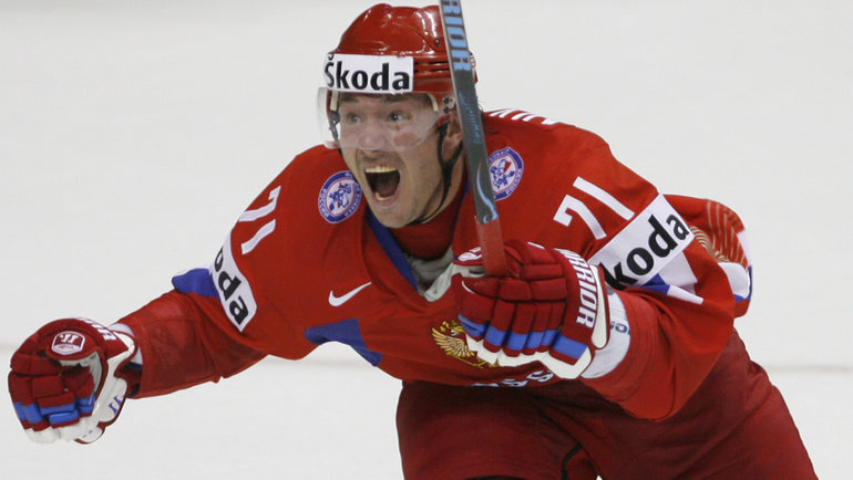 2008 год. Илья Ковальчук только что принес России победу наЧМ вКвебеке. Фото AFP