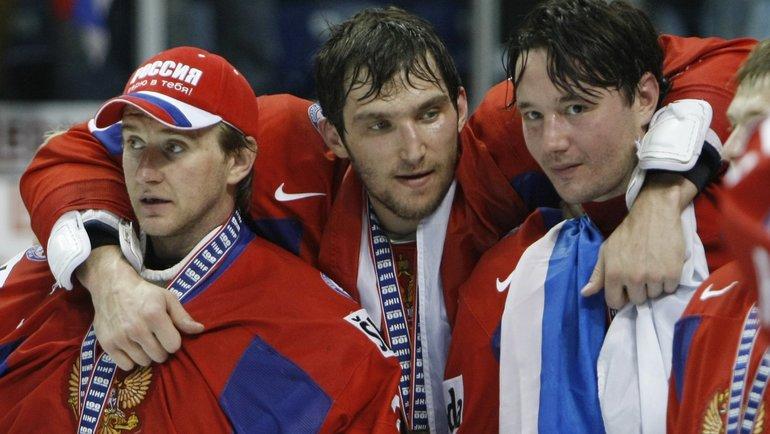 Евгений Набоков, Александр Овечкин иИлья Ковальчук после победы наЧМ вКвебеке. Фото USA Today Sports