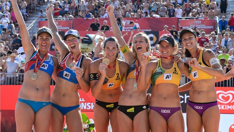 Призеры чемпионата мира-2017 по пляжному волейболу среди женщин. Фото сайт FIVB