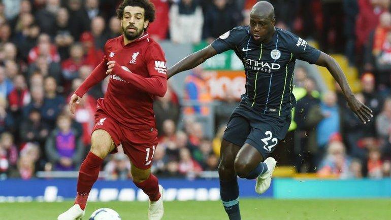 Нападающий «Ливерпуля» Мохамед Салах против защитника «Манчестер Сити» Бенжамена Менди. Фото ФК «Ливерпуль»