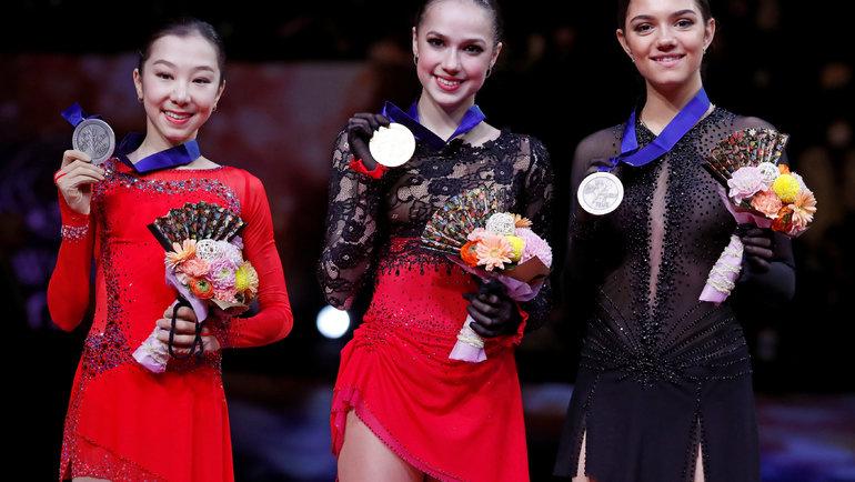 Элизабет Турсынбаева, Алина Загитова иЕвгения Медведева. Фото Reuters