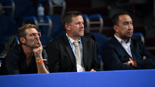 Массимо Каррера, теннисист Евгений Кафельников, агент Марко Трабукки. Фото Дарья Исаева, «СЭ»