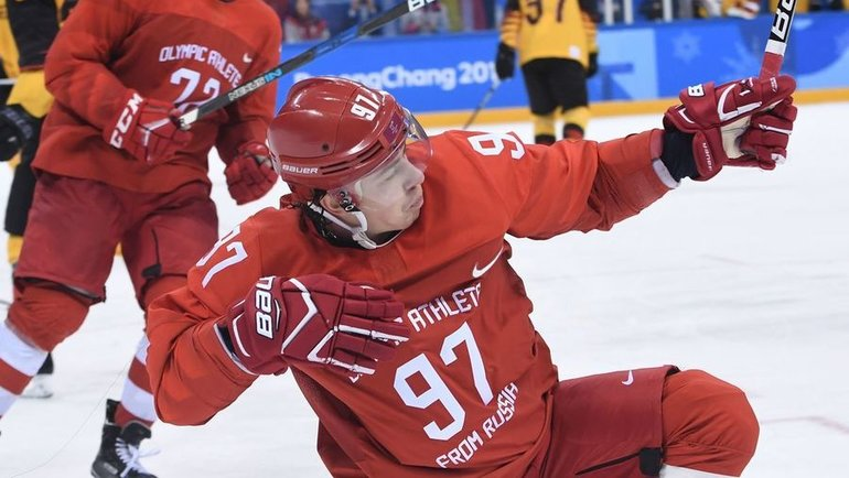 Каннын. Россия— Германия— 4:3 ОТ. Никита Гусев празднует заброшенную шайбу, которая перевела игру вовертайм. Фото AFP