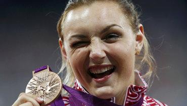 6августа 2012 года. Лондон. Евгения Колодко сбронзовой медалью Олимпиады.