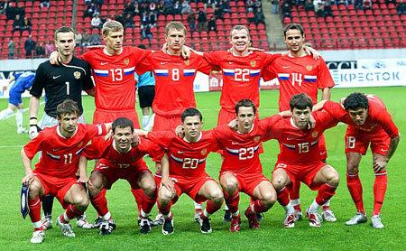 23 мая 2008 года. Стартовый состав сборной России на матч с Казахстаном.