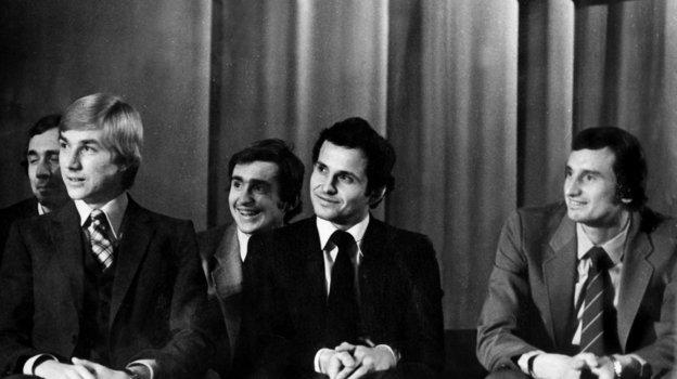 1979 год. Москва. Олег Романцев, Сергей Шавло, Федор Шеренков, Юрий Гаврилов (слева направо). Фото Игорь Уткин