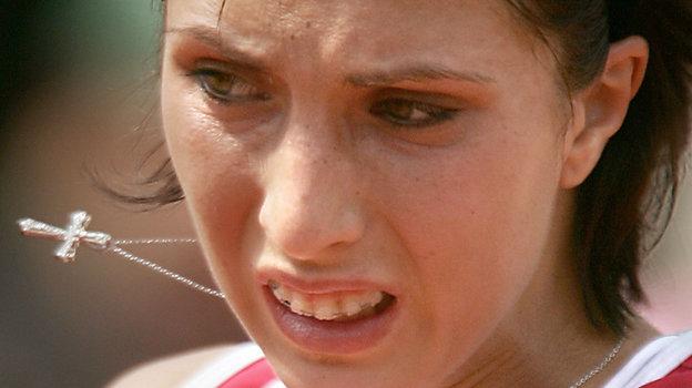 5июня 2004 года. Париж. Анастасия Мыскина вовремя финала. Фото AFP