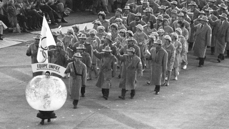 Объединенная команда наоткрытии Игр вАльбервиле. Фото Игорь Уткин, ТАСС