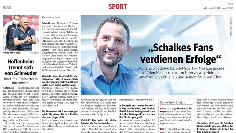 Интервью Доменико Тедеско изданию Westdeutsche Allgemeine Zeitung.