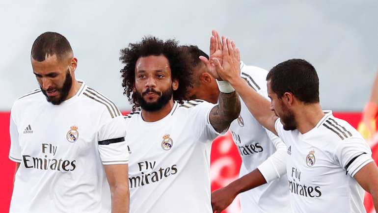 14июня. Мадрид. «Реал»— «Эйбар»— 3:1. Карим Бензема, Марселу иЭден Азар. Фото Reuters