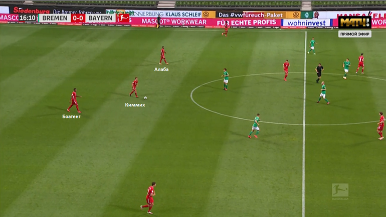 «Вердер»— «Бавария» (0:1). Киммих опускается кцентральным защитникам для розыгрыша мяча.