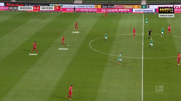 «Вердер» - «Бавария» (0:1). Киммих опускается к центральным защитникам для розыгрыша мяча.