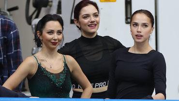 (слева направо) Елизавета Туктамышева, Евгения Медведева, Алина Загитова.