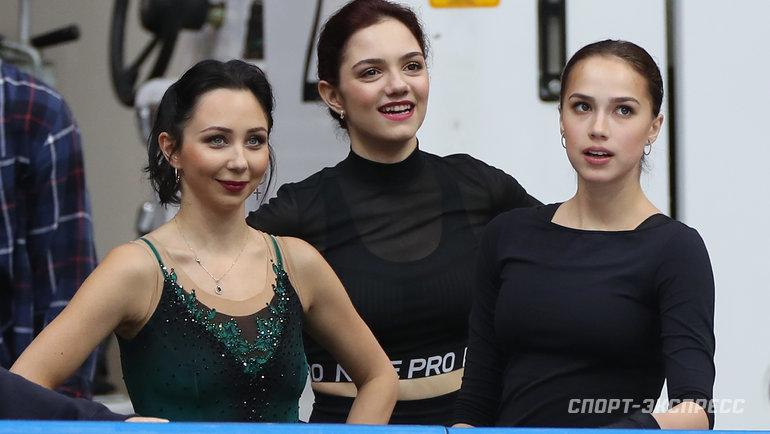 (слева направо) Елизавета Туктамышева, Евгения Медведева, Алина Загитова. Фото Александр Федоров, «СЭ» / Canon EOS-1D X Mark II