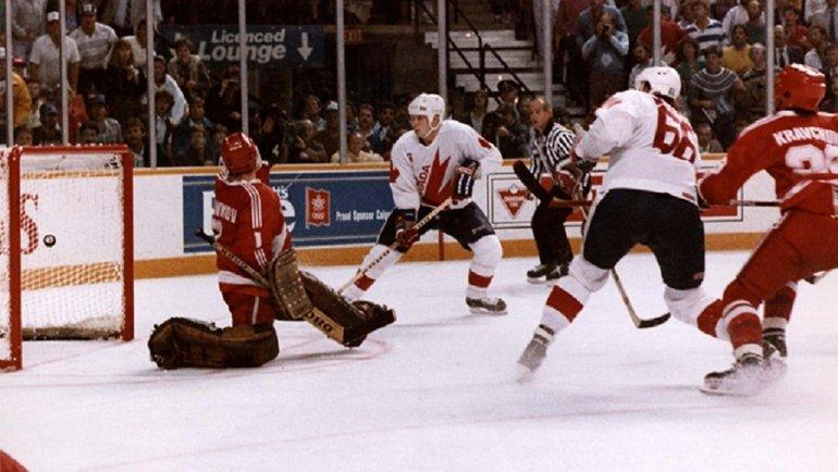 15сентября 1987 года. Гамильтон. Канада— СССР— 6:5. Победный гол Марио Лемье (№66). 0