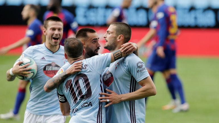 27июня. Виго. «Сельта»— «Барселона»— 2:2. 50-я минута. Федор Смолов (слева) сделал счет 1:1. Фото Reuters