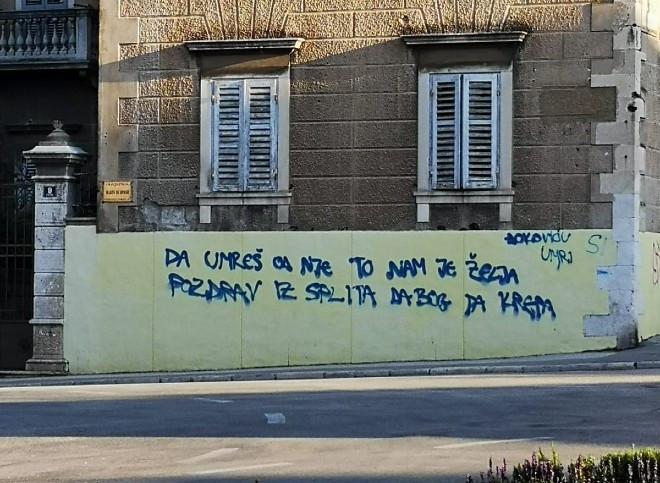 Послание Джоковичу. Фото Dalmatinski Portal