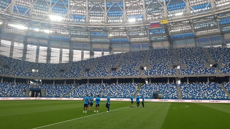 Игроки «Зенита» настадионе вНижнем Новгороде. Фото ФК «Зенит»