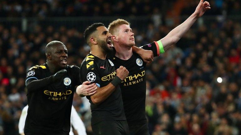 """26 февраля 2020. Мадрид. Игроки """"Манчестер Сити"""" празднуют гол в ворота """"Реала"""". Фото Reuters"""