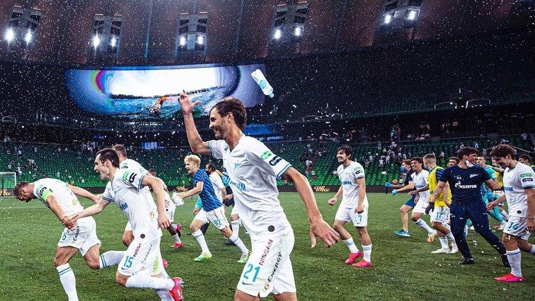 Игроки «Зенита» празднуют победу вчемпионате России наполе вКраснодаре. Фото ФК «Зенит»