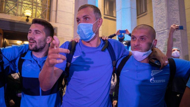 (слева направо) Алексей Сутормин, Артем Дзюба, Ярослав Ракицкий. Фото Анна Мейер, ФК «Зенит»