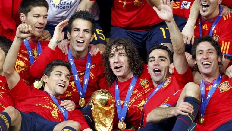 Сборная Испании после победы на чемпионате мира-2010. Фото AFP