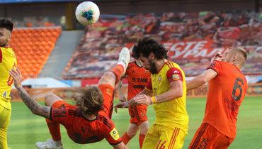 Гол Бикфалви через себя, мяч соштрафного отбровки. Вся красота матча «Урал»— «Арсенал»