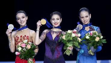 (слева направо) Анна Щербакова, Алена Косторная, Александра Трусова.