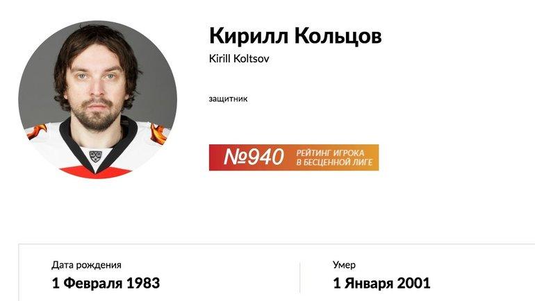 Профайлы игроков насайте КХЛ.