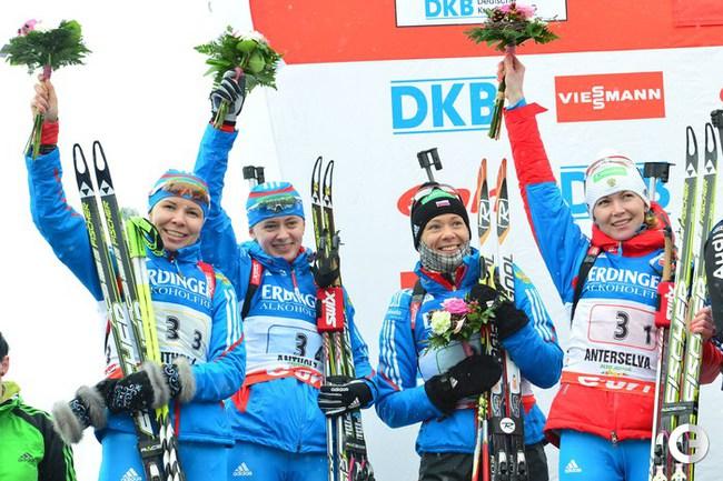 Серебряный призер женской эстафетной гонки - сборная России.