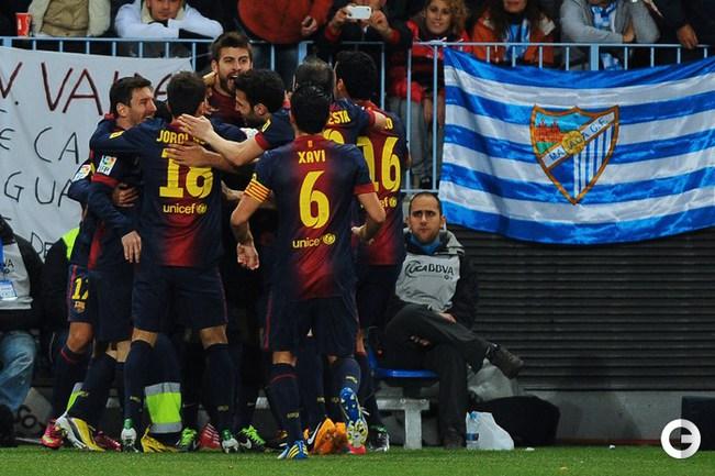 """""""Малага"""" - """"Барселона"""" - 2:4 (1:1). Радость победы. Фото AFP."""