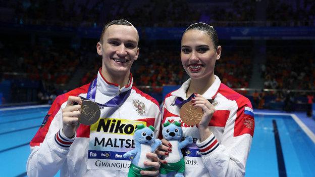 Российские синхронисты Александр Мальцев иМайя Гурбанбердиева. Фото Reuters