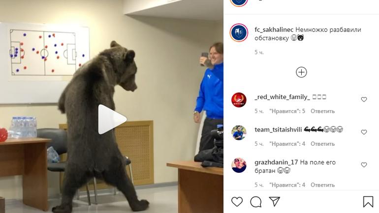 Медведь враздевалке «Сахалинца». Фото Instagram