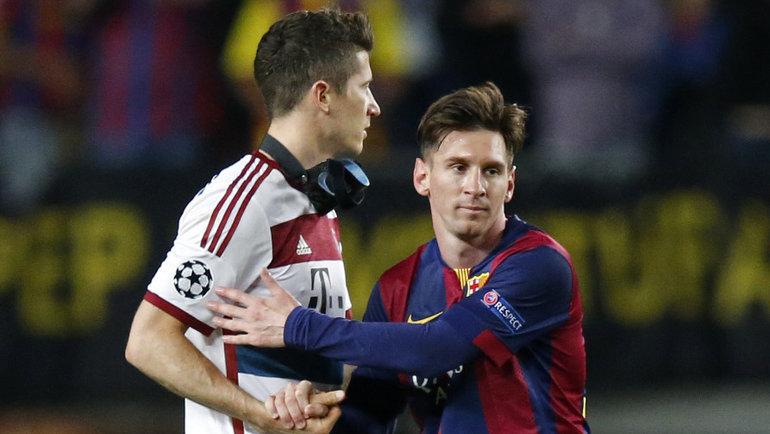 Роберт Левандовски иЛионель Месси: в2015-м «Барселона» прошла «Баварию»— 3:0, 2:3. Как будет вигре 1/4 финала теперь? Фото Reuters