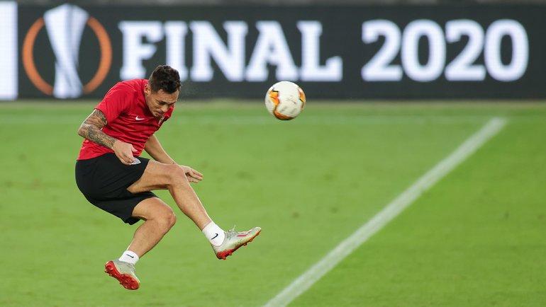 Тренировка «Севильи» перед финальным матча Лиги Европы. Фото AFP