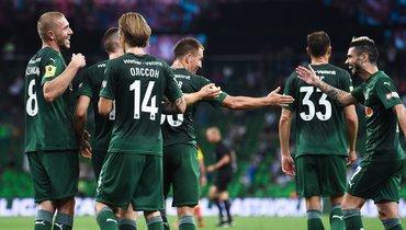 Радость игроков «Краснодара» после забитого гола вматче с «Арсеналом».